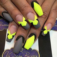 Coffin Nails, Matte Finish, Gray, Neon Yellow, Nail Designs