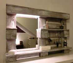 See the photo of handicraft crafted DIY mirror for bathroom from a palette and other inspiring images on Spaaz. Pallet Mirror, Diy Mirror, Pallet Bathroom, Pallet Vanity, Diy Bathroom, Bathroom Storage, Pallet Dresser, Hallway Mirror, Mirror Room