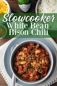 White bean bison chili is a healthier slow cooker chili recipe, loaded with excellent protein, fiber, lycopene, and good quality carbohydrates. Not to mention, it's super easy to make and incredibly delicious!! #bisonchili #bisonrecipe #chilirecipe #slowcookerchili #slowcookerrecipe #crockpotchili via @Ameecooks Slow Cooker Chili, Healthy Slow Cooker, Slow Cooker Recipes, Crockpot Recipes, Healthy Soups, Bison Recipes, Chili Recipes, Soup Recipes, Savoury Dishes