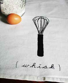 Whisk Tea Towel Hand pulled screen print by PonyAndPoppy on Etsy, $16.00