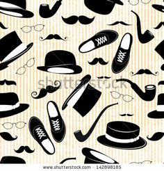 Hipster seamless background  with vintage elements - stock vector