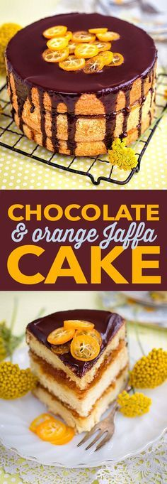 A soft and springy sponge cake filled with orange marmalade and smothered in a chocolate mirror glaze. by katherine Chocolate Orange, Cake Chocolate, Chocolate Glaze, Fun Desserts, Delicious Desserts, Yummy Food, Sweet Recipes, Cake Recipes, Dessert Recipes