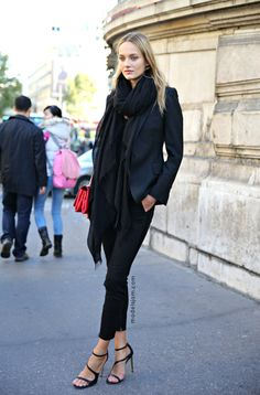 Black layering with high strappy pumps. Love the combination.