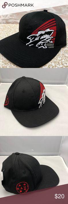 7908e8aeb46 Maui And Sons Black Flat Bill Hat Snapback Shark Maui And Sons Black Flat  Bill Hat