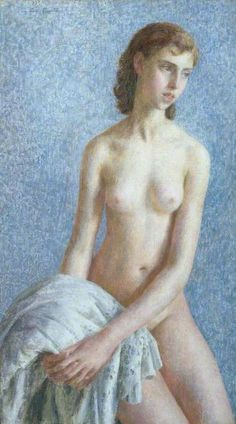 The Innocent (A New Day)  by Dod Procter    Oil on canvas, 108 x 63 cm  Collection: Leamington Spa Art Gallery & Museum