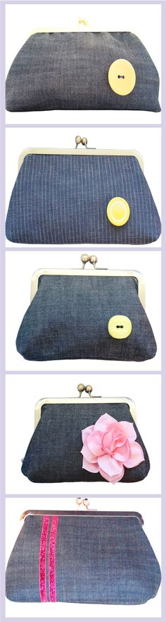 The prettiest handmade denim clutches. Denim Clutches, Denim Clutch Bags, Denim Handbags, Clutch Purse, Coin Purse, Green Button, Distressed Denim, Gift Guide, Fashion Accessories