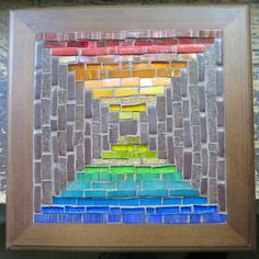 Rainbow Courthouse Steps Mosaic Trivet Whiteboard, Color Theory, Mosaic Glass, Wooden Frames, Rainbow Colors, All The Colors, Color Splash, Light Colors, Flats