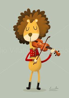 Ilustración infantil león tocando el violín en una banda de música 14.8 x 21cm  A5
