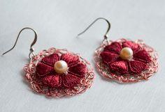 Handmade Wire Crochet Earring  lace pendant Earring featured wih Freshwater…