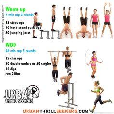 15 steps ups, 10 hand stand push ups, 30 jumping jacks, 12 chin ups, 30…
