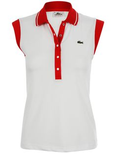 Lacoste Womens Tennis Polo White/Red