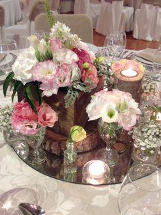 Wooden box as base for flower arrangement