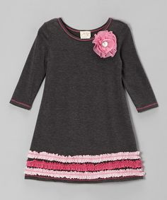 Take a look at this Charcoal & Pink Ruffle Dress - Toddler & Girls by Vanilla Crème on #zulily today!