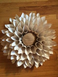 diy upcycle book page flower wreath wall hanging, made from old book pages, burlap, & plastic bags