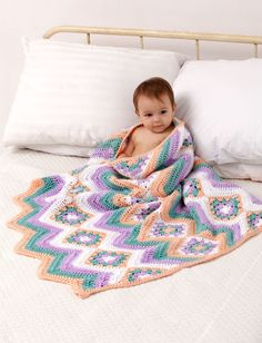 Yarnspirations.com - Caron Baby Granny Stripes Blanket - Patterns  | Yarnspirations