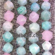 Malagasy Rose Quartz and Amazonite bead ball, faceted round (GMLB2921-8MM) approx 8mm dia