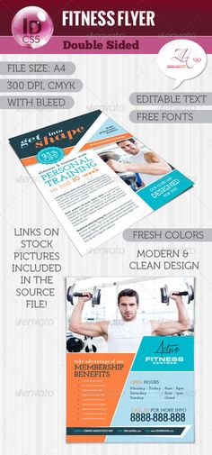 Buy Fitness Flyer (Double Sided) by zdenusik on GraphicRiver. InDesign – size – with bleed – resolution – CMYK mode – double sided – editable colors and text – only . Fitness Flyer, Fitness Brand, Basketball Floor, Basketball Games, Font Squirrel, Gyms Near Me, Promotional Flyers, Flyer Layout, Print Templates