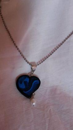 Collier cœur et petit pendentif nacré