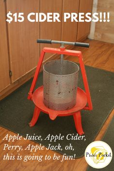 I found a $15 cider press at the thrift store...this will be awesome as apples come into harvest-time! Pixiespocket.com
