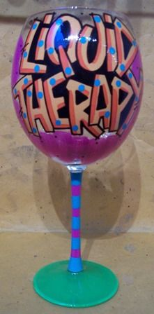Liquid Therapy wine glass, hand painted, fired into the glass, useable, washable