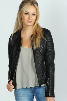 Beth Collarless Quilted PU Biker Jacket at boohoo.com