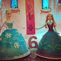 Directions for DIY Disney's Frozen Anna and Elsa Doll Cakes