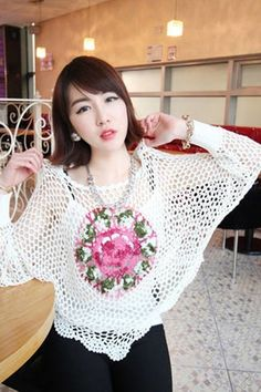 Embroidery hollow-out pullover sweater , flower embroidered white pullover, fashion round neck hollow-out sweater #embroidery #hollow-out #pullover #sweater www.loveitsomuch.com