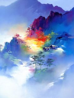 Chinese American Painter Ken Hong Leung Often Referred To Simply As H Creates Beautiful Landscapes Illuminated By Rainbow Hued Washes Of Light