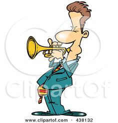 Royalty-Free (RF) Clip Art Illustration of a Cartoon Male Trumpet Player by Ron…