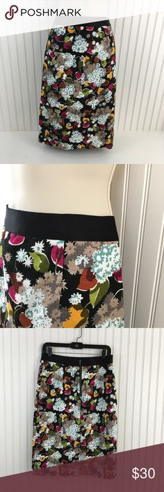 """Anthropologie Girls from Savoy floral print skirt Perfect fall colors floral print straight pencil skirt. Waffle like texture to the fabric. Elastic satin like waistband. Zipper closure in the back. Completely lined. Slit in the back:3.5""""  very good condition no rips stains or holes.  Approximate measurements flat across Waist: 15""""  Hips: 19.5"""" Length: 25"""" Anthropologie Skirts Pencil"""