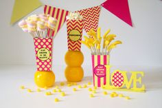 Mini POPCORN BOX Printable | Yellow & Pink Party Decorations | Instant Download | Siskale