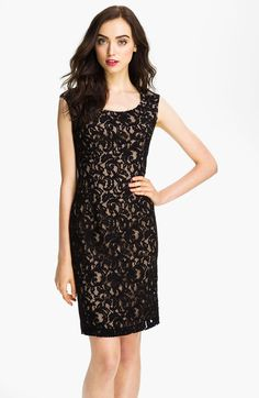 Adrianna Papell Black Cap Sleeve Lace Sheath Dress