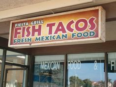 The Fiesta Grill located on Street in Huntington Beach is a great local favorite for delicious and authentic Mexican food Grilled Fish Tacos, Homemade Tacos, Huntington Beach, Four Square, Mexican Food Recipes, Conference, Improve Yourself, Grilling, Neon Signs
