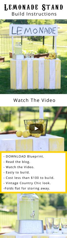 DIY Lemonade Stand. In this woodworking blog post I will show you how you can build your very own DIY vintage country chic lemonade stand using materials you can find at your local hardware store. This lemonade stand will be unlike any other lemonade stand you have ever seen because it will fold flat for storing away in the winter months. DOWNLOAD THE PLANS! #woodworking #diy #buildplans #projects #lemonadestand