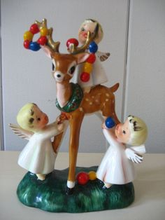 VINTAGE LEFTON CHRISTMAS ANGELS DECORATING A REINDEER CERAMIC FIGURINE | eBay