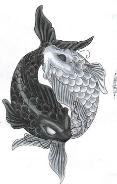 drawings of koi fish yin yang by on deviantART Yin Yang Fish, Arte Yin Yang, Ying Y Yang, Yin Yang Art, Yin Yang Tattoos, Body Art Tattoos, Sleeve Tattoos, Circle Tattoos, Owl Tattoos