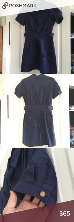 """👗Calypso Dress Calypso Dress in midnight blue. Adorable crinkled cotton with weathered brass hardware. Button up with hidden buttons - waist to collar. 2 Belts loop around (one is hidden thru waistband) and connect at the sides. Belts can be tightened or loosened to your liking. Front hidden slant pockets & one back pocket. 89% cotton, 11% polyester. Size Small. Length 34"""", armpit to armpit 17 1/2"""", sleeve about 8"""". Worn once. No rips, stains, snags, etc. Pet & smoke free home. Calypso St…"""