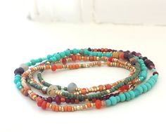 Southwest Beaded 5 Wrap Bracelet Turquoise Garnet