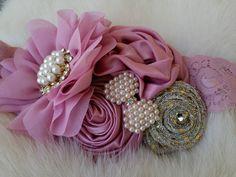 Rosy Mauve Headband/Fall Headband/Flower Girl Headband/Infant Headband/Baby Headband/Newborn Headband/Toddler Headband/Girl Headband by OohLaLaDivasandDudes on Etsy