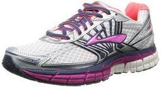 Brooks Women's Adrenaline GTS 14 Running Shoes, Color: White/Fuschia/Midnight, Size: 9.0