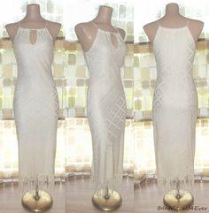 Vintage 90s 20s Unique FLAPPER Fringe Crochet BOMBSHELL Wiggle Dress IVORY S/XS $9.99  http://www.ebay.com/itm/190683229269?ssPageName=STRK:MESELX:IT&_trksid=p3984.m1555.l2649