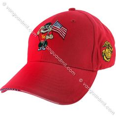Young Marines Ball Cap: Red with Chester
