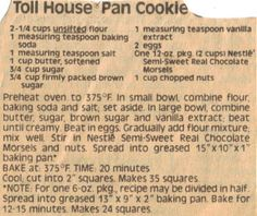 Toll House Pan Cookies Recipe Clipping Best Cookie Recipe Ever, Best Cookie Recipes, Brownie Recipes, Toll House Cookie Bars Recipe, Pan Cookies, Brownie Cookies, Chocolate Chip Cookies, Tollhouse Cookie Bars, Hermit Cookies
