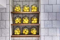 Kings Court Hotel, shelf decoration, organisation, lemon decoration, lemons, glass jar, yellow, colourful shelves