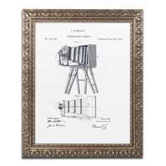 Claire Doherty 'Photographic Camera Patent 1885 White' Ornate Framed Wall Art