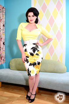Pencil Skirt in Yellow Floral by Pinup Couture   Pinup Girl Clothing
