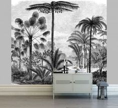 The Scenolia panoramic wallpaper is right here a mural illustration of a panorama of palm bushes in a misty jungle. Lcd Unit Design, Wall Unit Designs, Palm Trees Landscaping, Botanical Interior, Entertainment Wall Units, Modern Tv Wall, Tv Wall Decor, Widescreen Wallpaper, Salon Design