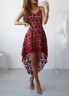Cute red high-low lace prom dress, evening dress, women fashion dress