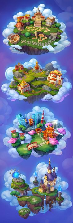 Flying Islands on Behance Background Drawing, Game Background, Level Design, Map Games, Board Games, 2d Game Art, Game Props, Medieval, Game Concept
