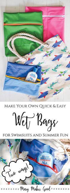 Make Your Own DIY Wet Bags for Swimsuits and Aquatic Adventuring! (A simple sewing tutorial) #ad @walmart @bluelizardsun #bluelizardsummer